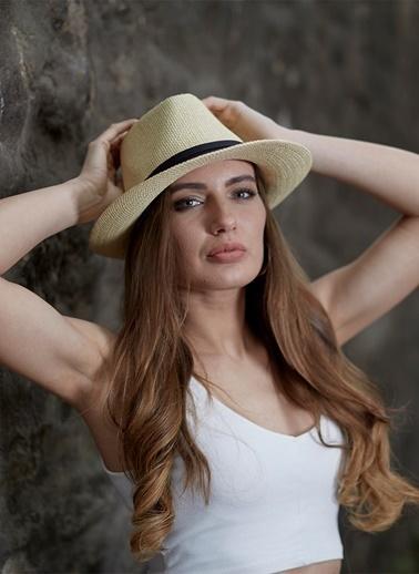 Laslusa İçten Ayarlanabilir Hasır Panama Unisex Fötr Şapka Krem